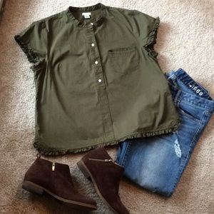 J Crew olive green top size large